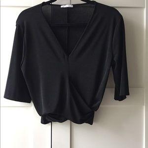 Zara Cropped Faux Wrap Shirt